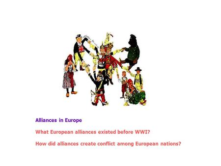 Alliances in Europe What European alliances existed before WWI? How did alliances create conflict among European nations?