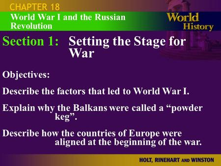 Section 1: Setting the Stage for War