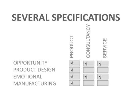SEVERAL SPECIFICATIONS OPPORTUNITY PRODUCT DESIGN EMOTIONAL MANUFACTURING PRODUCT CONSULTANCY SERVICE √ √ √ √ √√ √√