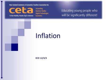 Inflation ECO 12/4/3. Inflation Is an increase in the general price level or average price level This means the price of most goods and services in the.
