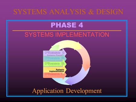 PHASE 4 SYSTEMS IMPLEMENTATION Application Development SYSTEMS ANALYSIS & DESIGN.