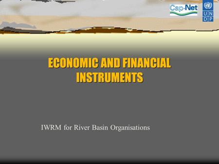 ECONOMIC AND FINANCIAL INSTRUMENTS IWRM for River Basin Organisations.