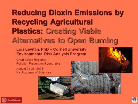 Reducing Dioxin Emissions by Recycling Agricultural Plastics: Creating Viable Alternatives to Open Burning Lois Levitan, PhD -- Cornell University Environmental.