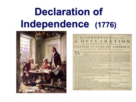 Declaration of Independence (1776). Second Continental Congress met in 1775 -Rejected Parliament's power to tax -Many delegates still want reconciliation.