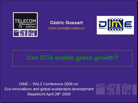 DIME – RAL2 Conference 2009 on: Eco-innovations and global sustainable development Maastricht April 28 th 2009.