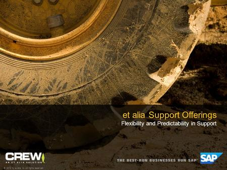 Et alia Support Offerings Flexibility and Predictability in Support © 2012 by et alia, llc. All rights reserved.
