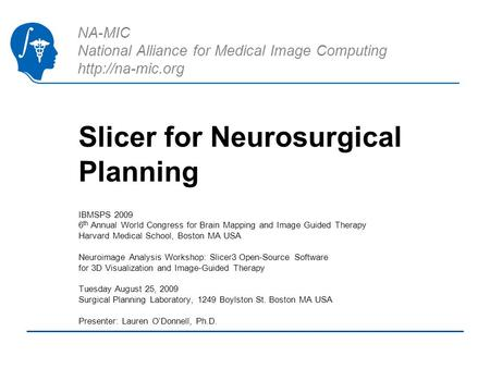 NA-MIC National Alliance for Medical Image Computing  Slicer for Neurosurgical Planning IBMSPS 2009 6 th Annual World Congress for Brain.