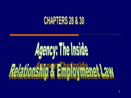 1. 2 Creating an Agency Relationship Agency is a relationship in which the agent agrees to perform a task for, and under the control of, the principal.