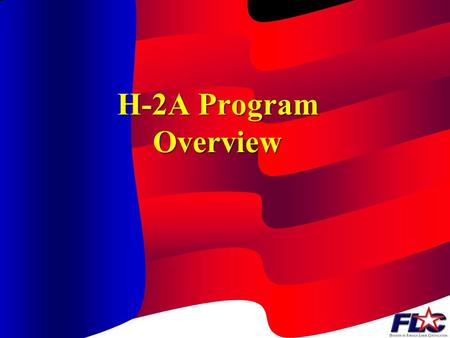 H-2A Program Overview USER: Who May Apply An agricultural employer May be individual, partnership, or corporation Authorized agent.