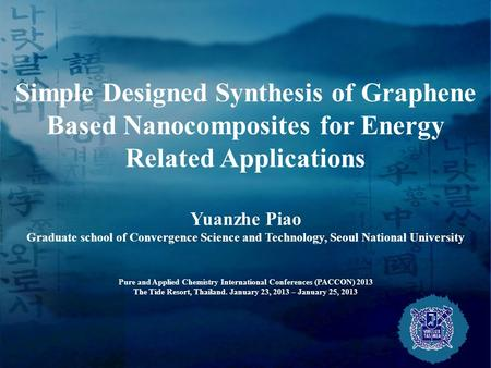 Simple Designed Synthesis of Graphene Based Nanocomposites for Energy Related Applications Yuanzhe Piao Graduate school of Convergence Science and Technology,
