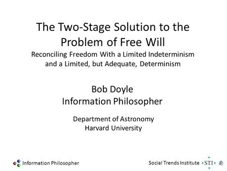 Information Philosopher Social Trends Institute The Two-Stage Solution to the Problem of Free Will Reconciling Freedom With a Limited Indeterminism and.