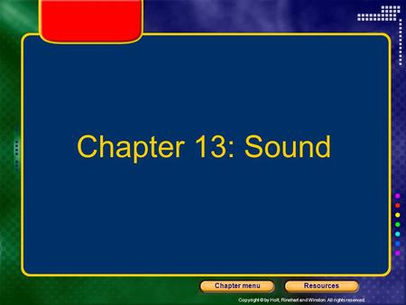 Chapter 13: Sound.