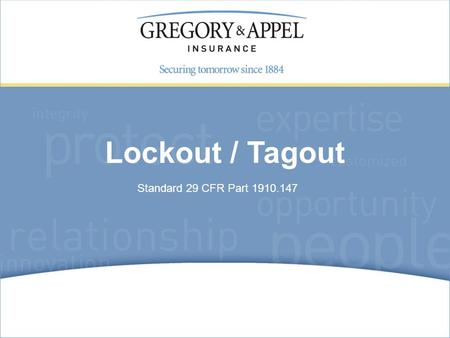 Standard 29 CFR Part 1910.147 Lockout / Tagout. Lockout/tagout agenda In today's presentation, we will discuss the following: Terminology Energy sources.