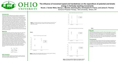 The influence of movement speed and handedness on the expenditure of potential and kinetic energy in full body reaching movements Nicole J. Vander Wiele,