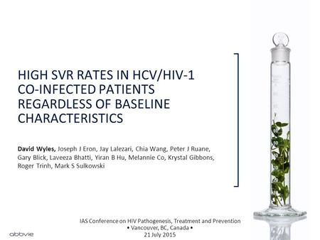HIGH SVR RATES IN HCV/HIV-1 CO-INFECTED PATIENTS REGARDLESS OF BASELINE CHARACTERISTICS David Wyles, Joseph J Eron, Jay Lalezari, Chia Wang, Peter J Ruane,
