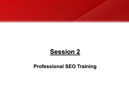 Session 2 Professional SEO Training. Professional Search Engine Optimization What is Search Engine Optimization (SEO)? The act of publishing and marketing.