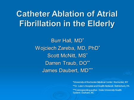 Catheter Ablation of Atrial Fibrillation in the Elderly