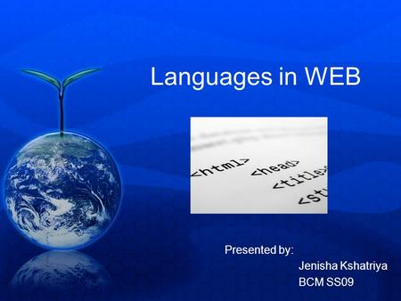 Languages in WEB Presented by: Jenisha Kshatriya BCM SS09.