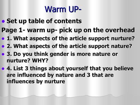 Warm UP- Set up table of contents