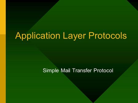 Application Layer Protocols Simple Mail Transfer Protocol.