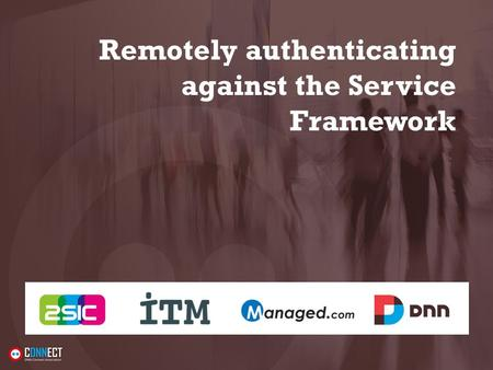 Remotely authenticating against the Service Framework.