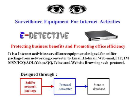 Surveillance Equipment For Internet Activities It is a Internet activities surveillance equipment designed for sniffer package from networking, converter.
