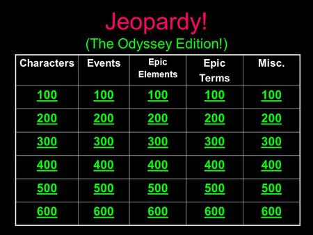 Jeopardy! (The Odyssey Edition!) CharactersEvents Epic Elements Epic Terms Misc. 100 200 300 400 500 600.