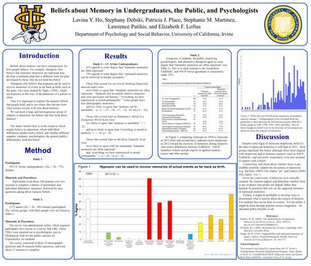 Www.postersession.com Beliefs about memory can have consequences for how people behave. For example, therapists who believe that traumatic memories are.
