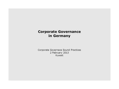 The German Corporate Governance Code Accountability Enforcement