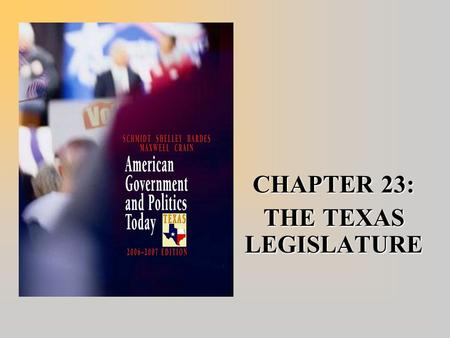 CHAPTER 23: THE TEXAS LEGISLATURE. Limited Session  Biennial Session –Legislature meets on the second Tuesday in odd- numbered years.  Meets for 140.