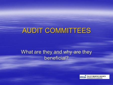 AUDIT COMMITTEES What are they and why are they beneficial?