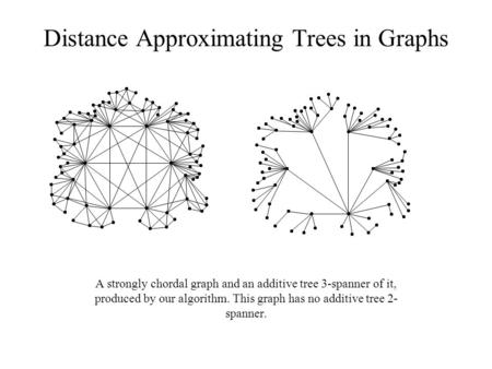 Distance Approximating Trees in Graphs A strongly chordal graph and an additive tree 3-spanner of it, produced by our algorithm. This graph has no additive.