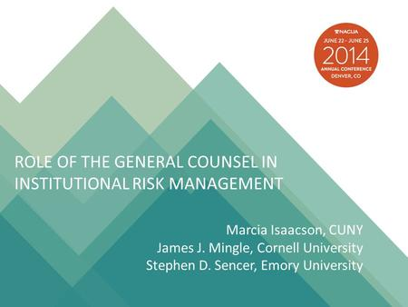 Role of the general counsel in institutional risk management