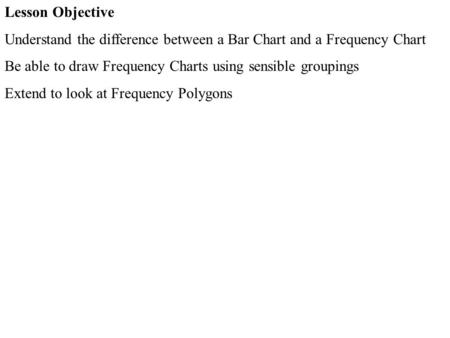 Lesson Objective Understand the difference between a Bar Chart and a Frequency Chart Be able to draw Frequency Charts using sensible groupings Extend to.