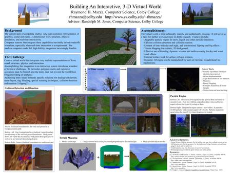 Building An Interactive, 3-D Virtual World Raymond H. Mazza, Computer Science, Colby College  Advisor: