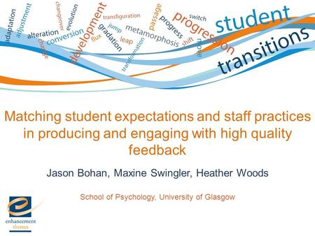 Matching student expectations and staff practices in producing and engaging with high quality feedback Jason Bohan, Maxine Swingler, Heather Woods School.