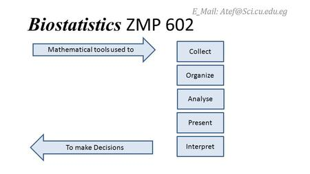 Biostatistics ZMP 602 Mathematical tools used to Collect Organize Analyse Present Interpret To make Decisions E_Mail: