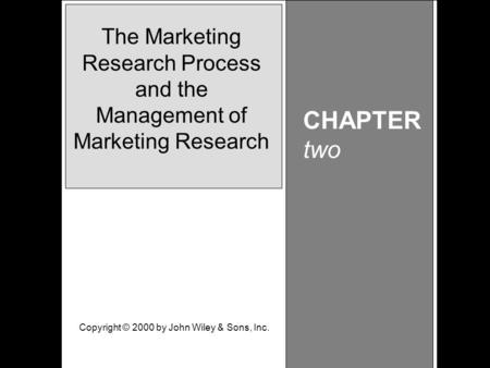 Learning Objective Chapter 2 The Marketing Research Process and the Management of Marketing Research CHAPTER two The Marketing Research Process and the.
