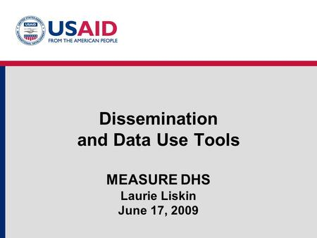 Dissemination and Data Use Tools MEASURE DHS Laurie Liskin June 17, 2009.