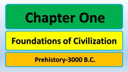 Chapter One Foundations of <strong>Civilization</strong> Prehistory-3000 B.C.