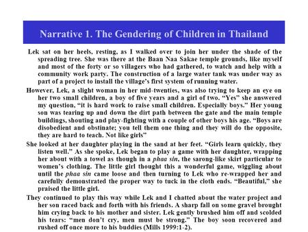 Narrative 1. The Gendering of Children in Thailand Lek sat on her heels, resting, as I walked over to join her under the shade of the spreading tree. She.