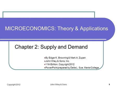 MICROECONOMICS: Theory & Applications By Edgar K. Browning & Mark A. Zupan John Wiley & Sons, Inc. 11th Edition, Copyright 2012 PowerPoint prepared by.