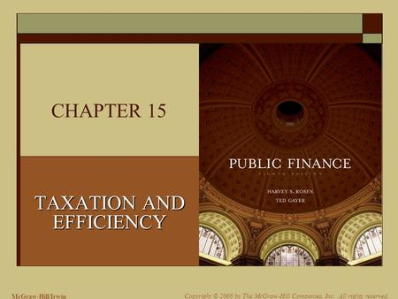 McGraw-Hill/Irwin Copyright © 2008 by The McGraw-Hill Companies, Inc. All rights reserved. CHAPTER 15 TAXATION AND EFFICIENCY.
