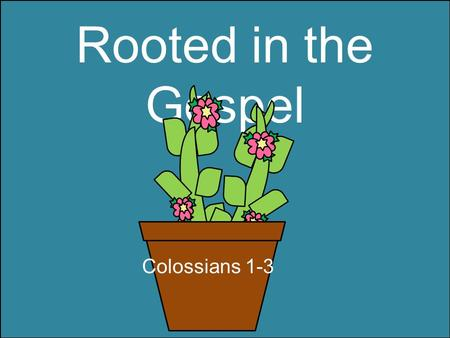 "Rooted in the Gospel Colossians 1-3. …so walk ye in him Colossians 2:6-7 ""Rooted and built up in him, and stablished in the faith, as ye have been taught,"