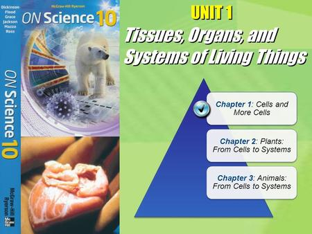 UNIT 1 Chapter 1: Cells and More Cells Chapter 2: Plants: From Cells to Systems Chapter 3: Animals: From Cells to Systems Tissues, Organs, and Systems.