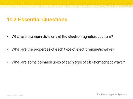 11.2 Essential Questions What are the main divisions of the electromagnetic spectrum? What are the properties of each type of electromagnetic wave? What.