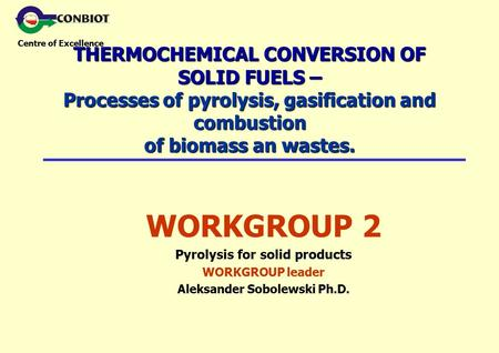 Centre of Excellence THERMOCHEMICAL CONVERSION OF SOLID FUELS – Processes of pyrolysis, gasification and combustion of biomass an wastes. WORKGROUP 2 Pyrolysis.