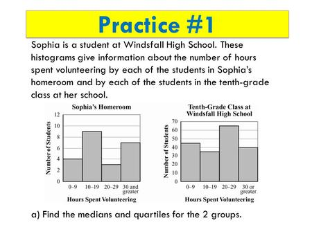 Practice #1 Sophia is a student at Windsfall High School. These histograms give information about the number of hours spent volunteering by each of the.