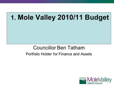 1. Mole Valley 2010/11 Budget Councillor Ben Tatham Portfolio Holder for Finance and Assets.