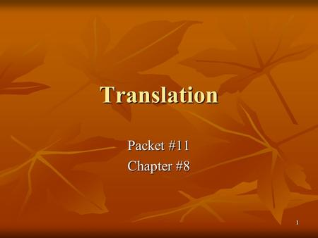 Translation Packet #11 Chapter #8.